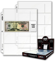 Currency Storage Page 4-Pocket Dollar Bill Paper Money Album Protector Plastic