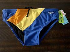 Speedo Men orange Yellow Blue Repreve Swim Brief Swimwear Size 34. New With Tags