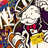 Alec Monopoly Oil Painting on Canvas Urban art decor Community Chest 28x28""