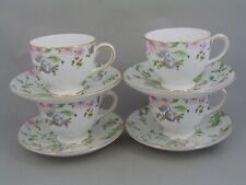 FOUR WEDGWOOD SWEET PLUM TEA CUPS AND SAUCERS, NEW, 3 CUPS MARKED AS SECONDS