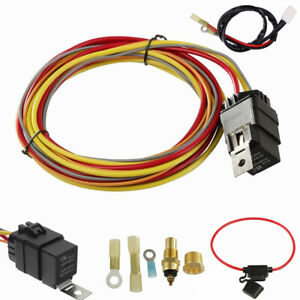 12V Electric Car Cooling Fan Wiring Harness Thermostat 40 Amp Relay Waterproof