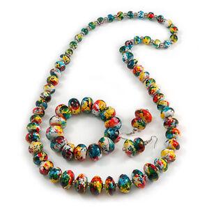 Multicoloured Wooden Bead Long Necklace, Drop Earrings, Flex Bracelet - 80cm Lon