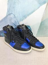 $645 SAINT LAURENT Black Leather Blue Metallic Court Classic Sneakers SZ 39 SALE