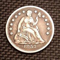 1857 P Seated Liberty Half Dime - Very Fine+ VF+