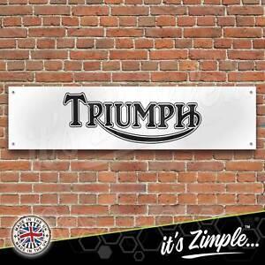 Triumph Motorcycles Logo Black Banner Garage Workshop Sign PVC Trackside Display