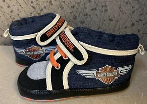 Harley-Davidson soft sole crib High Top shoes 4 5  USA