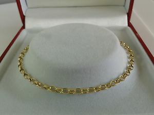 9ct Gold Ladies Solid Link Diamond Cut Belcher Anklet.Hallmarked. XXXL-12 Inch.