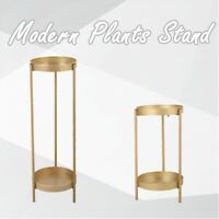 Metal Tall Plant Display Stand with 2 Tray Potted Plant Holder Home Decor Golden