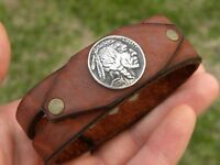 Buffalo Indian coin Buffalo leather bracelet wristband nice gift motorcycle bike