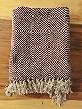 Destiny Decke Liverpool Wolldecke Tagesdecke 100%Baumwolle rot/natur Strandlaken