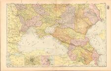 1893 ANTIQUE MAP - RUSSIA SOUTH, CAUCASUS, ODESSA, ROSTOV, SEPASTAPOL, CRIMEA