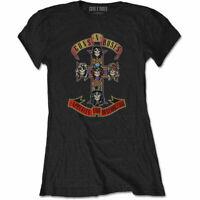 Guns N Roses Logo Appetite for Destruction Cross Slash Black Women T-shirt