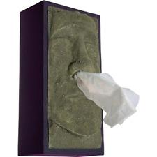 Tiki Head Tissue Box Cover Kleenex Dispenser Tissues Green Face Black Sides .