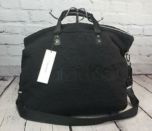 $138 Calvin Klein ELISE Sherpa Weekender Tote Duffle Bag w/ Shoulder Strap BLACK
