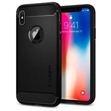 Apple iPhone X 10 Spigen Rugged Armor Shockproof Case Slim TPU Cover Matte Black