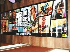 "GRAND THEFT AUTO V (GTA 5) Vinyl Banner with Grommets, RARE, 33"" by 94"", 8 Feet"