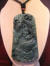 "Natural green grade A jade carved ""Dragon"" and  ""Pi Qiu"" pendant"