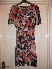 MISS SELFRIDGE ORANGE PEACH BLACK GREY PRINT FLOATY V-NECK DRESS - KNEE LENGTH 8