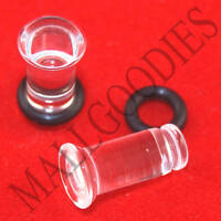 1328 Acrylic Single Flare Clear 4 Gauge 4G Plugs 5mm MallGoodies 1 Pair (2pcs)