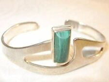 Bracelet Taxco Mexico 1950 Vintag Southwest Sterling Silver Malachite Cuff