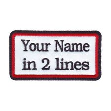 Rectangular 2 Line Custom Embroidered Biker SEW ON  Name Tag PATCH (BRB)