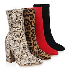 Damen Stiefeletten High Heels Blockabsatz Boots Schlupfstiefel 826658 Schuhe
