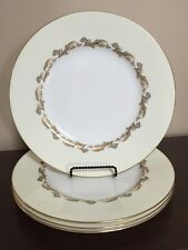 "Set of 4 Minton Bone China Gold Laurentian H-5184 10 1/2"" Dinner Plates"