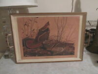 Vintage Nashco mid century Ruffed Grouse metal tray with handles