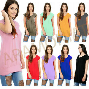 New Ladies Low Cut Plain Hip Long Line Top Gathering TShirt Tunic Summer Holiday