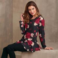 Mud Pie Zoe Flounce Top Womens Blouse Black Rose Print Long Sleeve 8513154 New