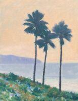 Southern California LA Beach Seascape Palm Trees OIL PAINTING ART IMPRESSIONIST