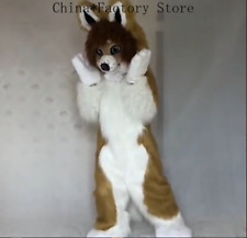 Long Fur Fox Dog Mascot Costume Suits Cosplay Outfits Party Dress Halloween Xmas