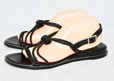 61f4c3cfa51 COLE HAAN Wo s 10 Black Leather Braided Strappy Gladiator Sandal