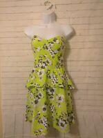 Junior's Aeropostale Multicolor Floral Strapless Fit N Flare Dress, Sz M, New