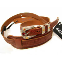 Gretsch Tooled Vintage Leather Guitar Strap - Walnut, Red Jewel