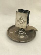 Masonic Silver Plate Table Matchbox Holder