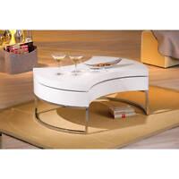Table basse table de salon design moderne ronde pivotante chrom BLANC BRILLANT