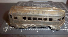 Vintage Midgetoy metal train passenger car, no paint, wheels spin, rockford ILL