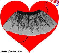 Spider web Black Neon UV Whit tutu skirt Gothic Emo rock Fairy party Halloween