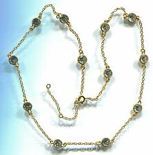 """925 GOLD VERMEIL 6 CARAT TW 16"""" TO 18"""" RUSSIAN CZ BY THE YARD NECKLACE"""