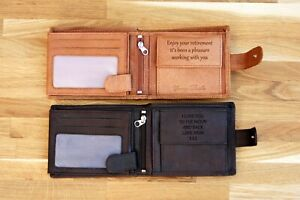 Personalised Engraved Genuine Leather Mens Wallet RFID Birthday Anniversary Gift