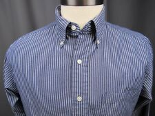 Brooks Brothers Blue/White Striped Shirt 15x33 Button Front Long Sleeved