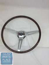 1967-68 Chevrolet Walnut Wood Steering Wheel Kit 3 Spoke - Brushed - Bowtie Cap