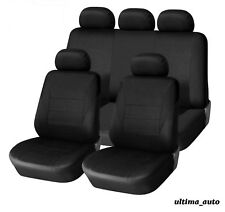 9 PCS FULL BLACK COLOUR  FABRIC CAR SEAT COVERS SET UNIVERSAL WASHABLE
