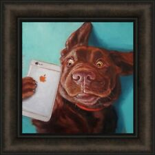 DOG SELFIE by Lucia Heffernan 16x16 FRAMED PRINT PICTURE Chocolate Lab Iphone