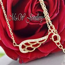 925 Sterling Silver Rose Gold Chain Necklace Pendant WING With Zirconia