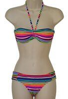 California Waves striped bandeau bikini size S swimsuit new