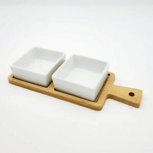 Tapas Serving Board & Dishes Set, Wooden Board, Rectangle Shaped Dish, Pack of 2