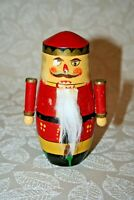 "Vintage 5.5"" Hand Painted 5-Piece Red Nutcracker Santa Russian Stacking Doll Set"