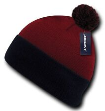 Red / Navy Blue Pom Pom Snowboard Winter Skull Warm Cuffed Long Knit Beanie Hat